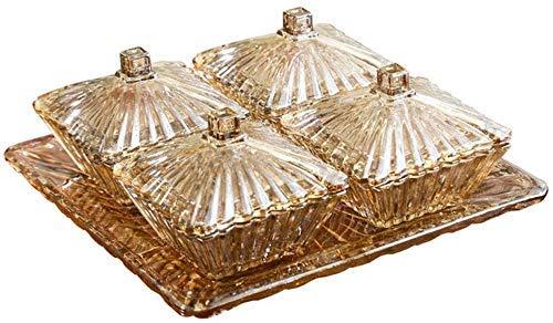 YNHNI Fruit Plate Fruit Basket Snack Plate Snack Container Verre Cristal Snack Fruit Bowl Bol Saladier Bonbons secs Assiette de Fruits Plateau (Color : Gold)