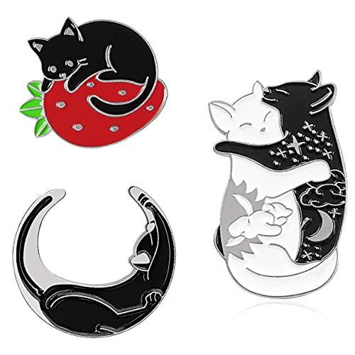 Chamqueen 3pcs Cartoon Black Cats Brooch Cute Cats Enamel Lapel Pins Set Cats Badges for Clothing Bags Backpacks Silver