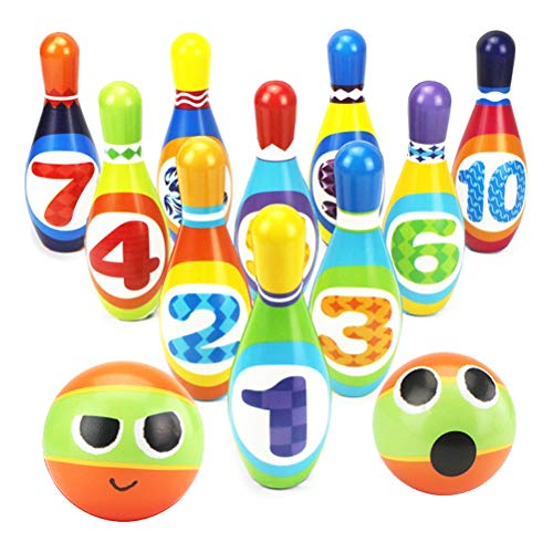 Bowling Set Kegelspiel Kegeln Spiel mit 10 Kegel und 2 Bälle für Kinder Interaktiv Spielzeug Drin und Draußen