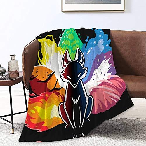 All Season Throw Blanket Fashion Blanket Throws Oversized Plush Throw Blankets for Bed, Couch, Living Room Novelty Elemental Fox Kitsune Throw Blanke