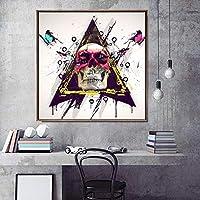 DIHEFAグラフィティ絵画キャンバス印刷壁アート写真リビングルームカラフルな頭蓋骨と蝶の家の装飾 40x40cm-フレームなし