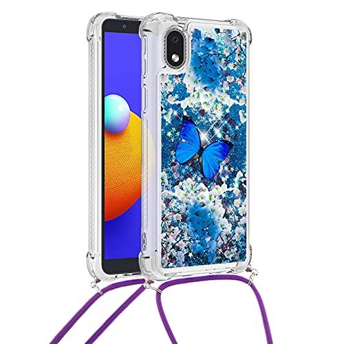 Yewos Cover per Samsung Galaxy A01 Core,Glitter Liquido Brillantini Sabbia Custodia con Collana/Cordino Tracolla,Morbida Silicone Trasparente TPU Bumper Protettiva Antiurto Caso,Farfalla Blu