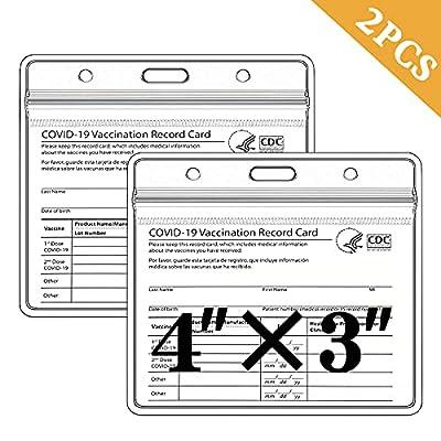 [2PCS] TSAIYOGA Vaccine Card Protector, CDC Vaccination Card Protector 4x3, Covid Vaccine Card Holder, Immunization Card Sleeve Plastic Waterproof