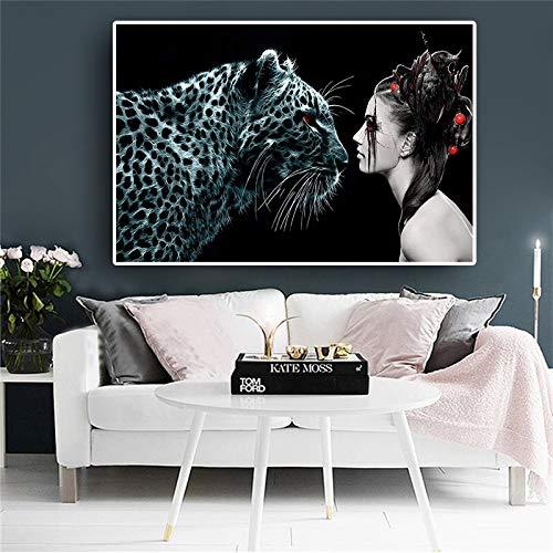 Mädchen Hexenkatze große Fantasie Leopard Tier skandinavischen Plakat und druckt nordischen Stil Leinwand Kunst Wand Wohnzimmer Bild rahmenlose Malerei 20X30CM