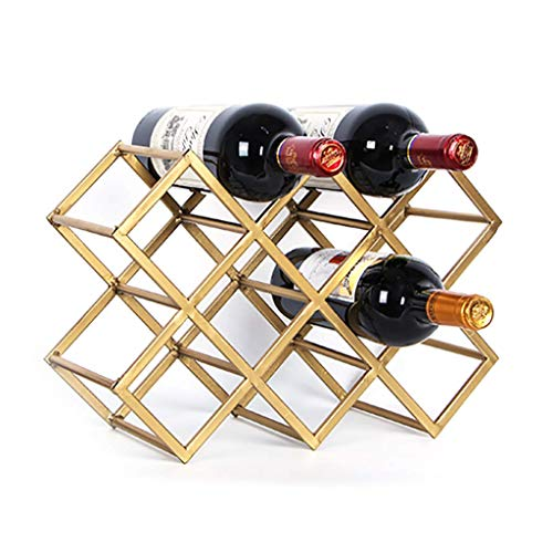 YYDE - Soporte de Metal para Almacenamiento de Vino para 10 Botellas, Ahorra Espacio para refrigerador, pequeño botellero y Soporte para Botellas de Vino