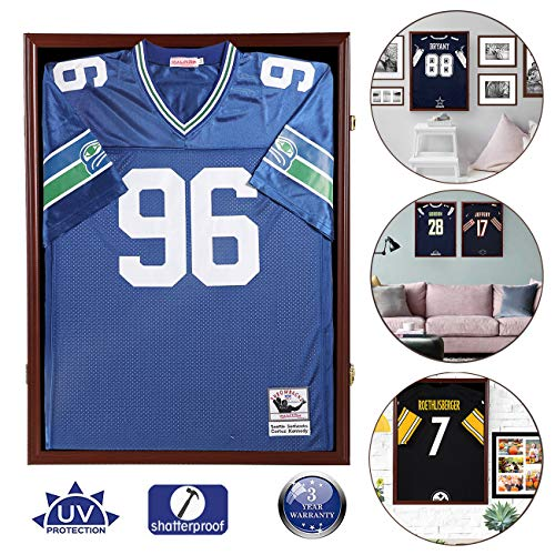 Snail Jersey Frame Display Case Large Lockable Frames Shadow Box with UV Protection Acrylic for Baseball Basketball Football Soccer Hockey Sport Shirt, Hanger and Wall Mount Option, Mahogany Finish