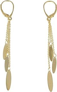 Gioiello Italiano - Orecchini pendenti con tre fili in oro giallo 14kt, lunghezza 7cm, da donna