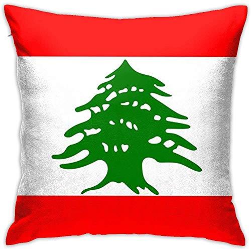 BUXI Printing Pillow Cover,Funda De Almohada De Bandera Libanesa, Fundas De Almohada Elegantes para Dormir En Avión De Tren,50x50cm