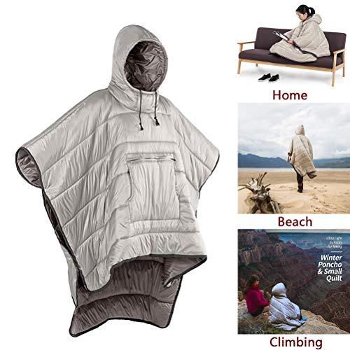 Outdoor Winter Poncho Warmer Schlafsack, Leichter Camping tragbarer Mantel, winddichter wasserdichter Umhang für Erwachsene Männer Frauen, vielseitiger Honcho Poncho,Khaki