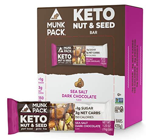Munk Pack Keto Nut & Seed Bar, <1g Sugar, 3g Net Carbs, Keto Snacks, No Added Sugar, Plant Based, Gluten Free, Soy Free (Sea Salt Dark Chocolate 12 Pack from Munk Pack