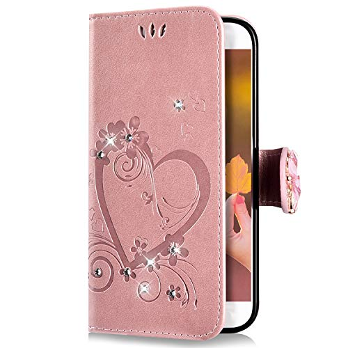 Uposao Coque Samsung Galaxy A40 Pochette Portefeuille en Cuir,Luxe Glitter Diamant Cœur Motif Coque à Rabat Magnetique PU Housse Etui de Protection Stand Flip Case pour Galaxy A40,Rose Gold