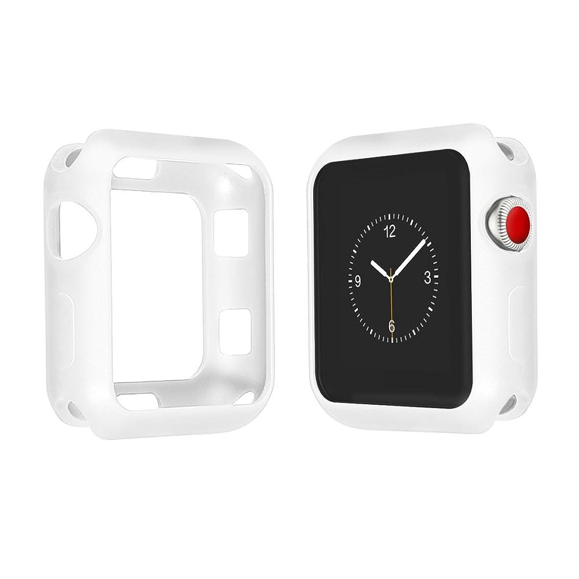 ハブブ不条理無駄だCompatible with Apple Watch Case,ファッションスクラブプロテクターケース42 / 38mmフレームソフトTPUシリコンウォッチカバーシリーズ3 2 1 (38mm, White)