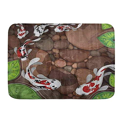 Fußmatten, Koi Fisch Beruhigender Teich Aqua Tiere Cool, Küchenboden Badteppich Matte Saugfähig Innen Badezimmer Dekor Fußmatte Rutschfest