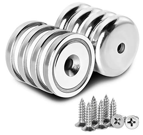 Powmag Neodym Magnete mit Loch, Topfmagnet Nyodym Magnete mit Senkkopf und Schrauben 34kg, Stark, Permanent, Rare Earth Magnete Mit 8 Schrauben für Handwerk, 32MM X 8MM