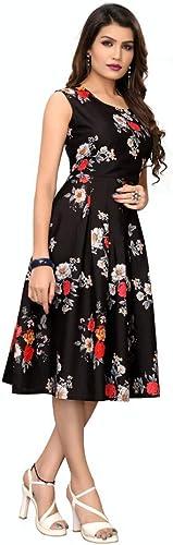 One Piece for Women Girls Sleeveless Knee Length Floral Printed Summer Dress for Girls Crepe