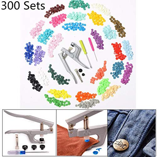 RENCALO 30 Farben 300 Sets KAM Snaps T5 Snap Starter Kunststoff-Popper-Verschlusszange