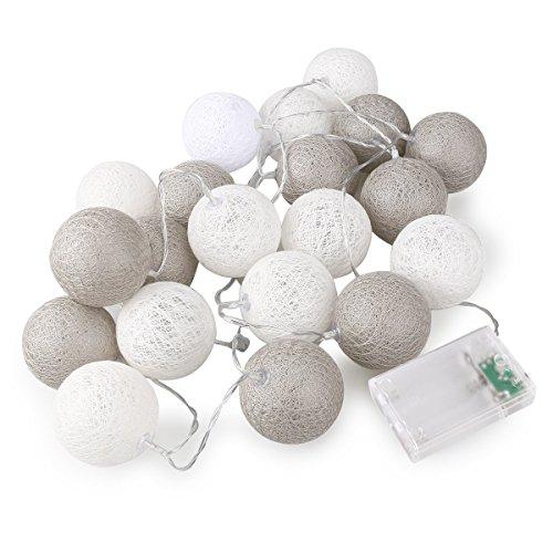 LEORX 20 LED ljusslingor boll dekoration belysning AA batteridriven (grå seriell)