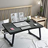 Laptop Desk, Injection Edge Banding Foldable Bed Tray Table with Table Slot Cup Holder and Bookshelf Board Multi-Function Portable Folding Desk for Eating/Working/Watching Movies on Bed/Couch/Sofa