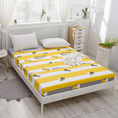 KIrSv Super King Fitted Sheet,100% Cotton Plant flowers Fitted Sheet With An Elastic Band Mattress CoverBed Sheet Queen Size Bedspread-E_150x200cm+30cm