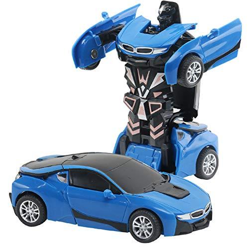 DishyKooker rc Spielzeug Auto EIN-Knopf-Deformations-Spielzeug-Kinderträgheits-Auswirkungs-Auto-Roboter Ferrari Green