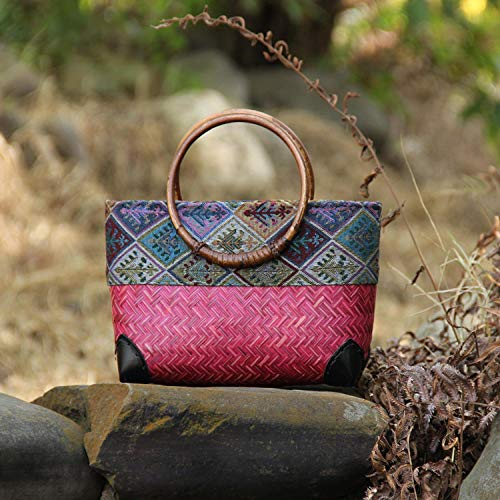 NKSS Handgemachte Bambus-Gewebe-Tasche Mini-Gewebter Lagerung Gewebt Rattan-Handtasche-Rose Rot