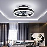 Ventilador de techo de Ø40CM con luces y control remoto, luz de techo moderna con atenuación de LED de 24 W, iluminación de ventilador silenciosa para sala de estar, negro