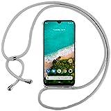 Ingen Funda con Cuerda para Xiaomi Mi A3 - Carcasa Transparente TPU Suave Silicona Case con Colgante - Gris
