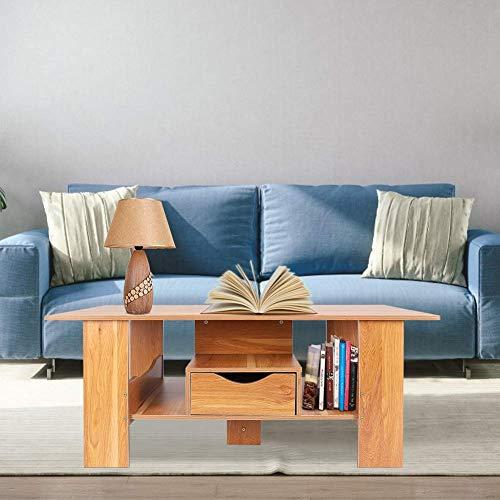 NMDD Couchtisch Holz Wohnzimmer Tisch mit Schubladen Großer Beistelltisch Moderner Couchtisch Couchtisch Holztisch...