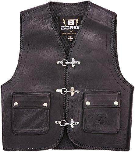 Bores Sunride 3 Rinder Lederweste, Aufgesetzte Taschen, Schwarz, Größe XL