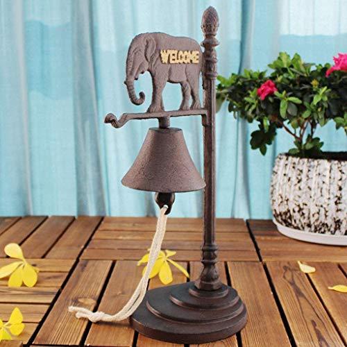 GJJSZ Elefante del sudeste asiático,sonajero de Escritorio de Hierro Fundido Vintage,Barra de Campana de Hierro Forjado,Adornos de Campana de Mano