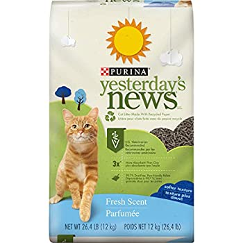 PURINA Yesterday s News Non Clumping Paper Cat Litter Fresh Scent Low Tracking Cat Litter in Recyclable Box - 26.4 lb Bag