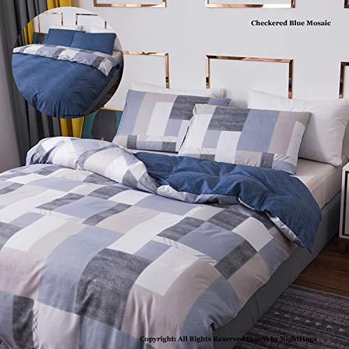 Check Stripe Reversible 3 pcs Duvet Quilt Cover Sets with Zipper Closure + 2 Pillowcases - Ultra Soft Hypoallergenic Microfiber Percale Printed Design (Checkered Blue Mosaic Double)