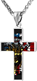 BlingDi Fashion Design Firefighter Hero American Flag Zinc Alloy Religious Cross Pendant Necklace