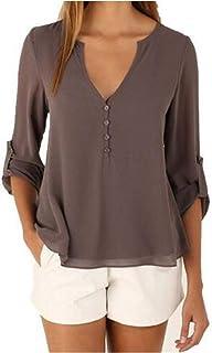 Camisas Mujer Blusa con Botones Camisetas Manga Larga Sexy Tops Color Sólido Cuello en V Low Cut Sexy Camisetas y Tops Cam...