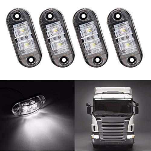 GOFORJUMP 4PCS / Set 2 LED Auto Car Truck Remorque Caravan Side Marker Light Lampe 12V 24V Blanc Couleur Universal