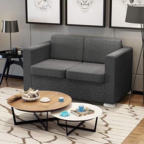 Tidyard 2-Sitzer Sofa Stoff Dunkelgrau Couch Schlafsofa Bettsofa - Holzrahmen + Stoffpolsterung + verchromte Beine - 137 x 73 x 78 cm (B x T x H)