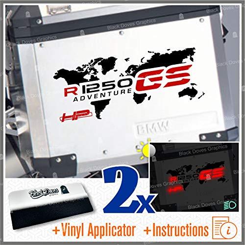 2pcs Adhesivo World R1250GS HP ADVENTUREE Compatible con BMW Motorrad R1250 GS R 1250 HP Touratech y GIVI Trekker Outback 37L 48L (Negro/Rojo)
