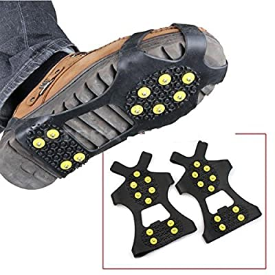 2Pcs Non-slip shoe cover Ice Snow Grips Over Shoe Boot Traction Cleat Rubber Spikes Anti Slip Mountaineering Non-slip Shoe Cover 10-Stud Slip-on Stretch Footwear (Large (Shoes Size:W 10-13/M 8-11))