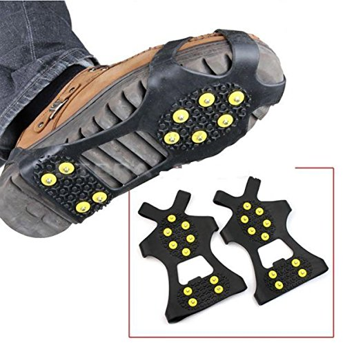 LEEBEI 2Pcs Non-Slip Shoe Cover,Ice Snow Grippers,Over Shoe Boot Traction Cleat Rubber Spikes Mountaineering Non-Slip Shoe Cover 10-Stud Slip-on Stretch Footwear (Medium (Shoes Size:W 7-10/M 5-8))