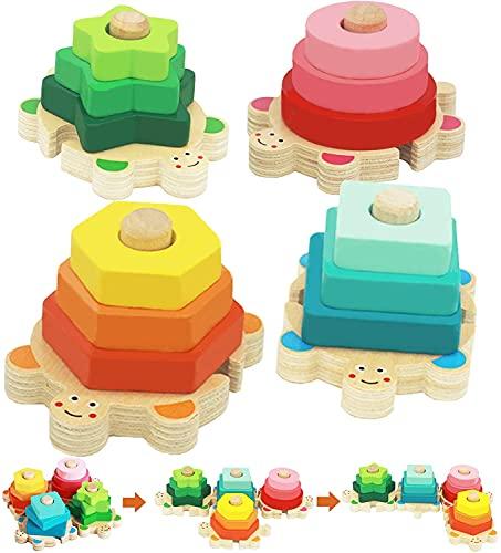 Juguetes Bebe, Goorder De Madera Rompecabezas Set Juguete Montessori, Juguetes Educativos para Bebés, para niños niñas 1 2 3 4 años Forma Reconocimiento Geometría Bloques de Stack & Sort Board