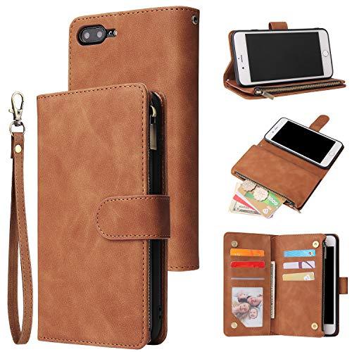 UEEBAI Wallet Case for iPhone SE 2020 iPhone 7 iPhone 8, Premium Vintage PU Leather Magnetic Closure Handbag Zipper Pocket Case Kickstand Card Holder Slots with Wrist Strap TPU Shockproof Flip - Brown