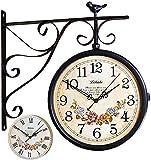 DSADDSD' Forjado Hierro Antiguo Mirada Redonda Colgando Doble Cara Dos Caras Estación Retro Reloj Redondo Lámpara de araña Reloj Colgando Decoración de la Pared Reloj de Pared