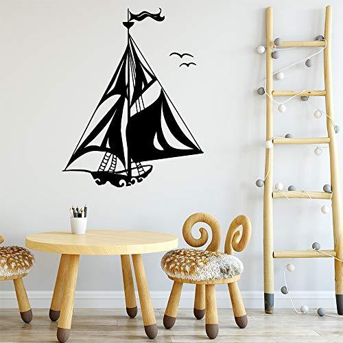 Tianpengyuanshuai Segelboot Wandaufkleber abnehmbaren Hintergrund Wandkunst Aufkleber-36X45cm