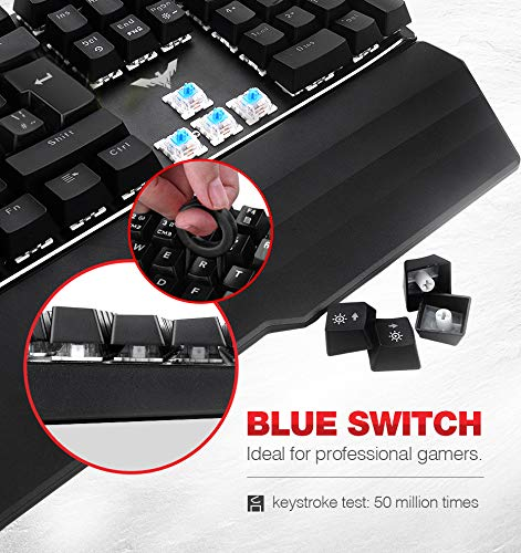 HAVIT Wired RGB Mechanical Gaming Keyboard and Mouse Combo Set UK Layout, Blue Switch Mechanical Keyboard with Detachable Ergonomic Wrist Rest 4800Dots Per Inch Programmable Wired Mouse,Black (KB389L)