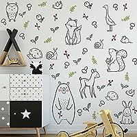 漫画動物のシンプルさの草の創造性の壁のステッカーベッドルームリビングルーム子供部屋アート装飾ステッカー