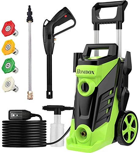 Homdox 3500 PSI Pressure Washer, 2.6 GPM Electric Pressure Washer, 1800W High Pressure Washer, Professional Washer Cleaner with 4 Nozzles (Green)