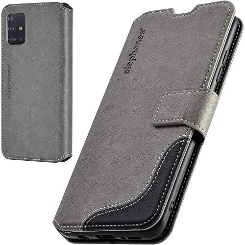 elephones Handyhülle für Samsung Galaxy A51 Hülle mit TÜV geprüftem RFID-Schutz aus Premium PU Leder Flip-Hülle Handy-Tasche Schutz-Hülle Kompatibel mit Samsung Galaxy A51 Grau