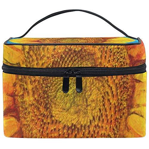 Cosmetic Bag Vibrant Sunflower Womens Makeup Organizer Girls Toiletry Case Box Lazy Zip Bag