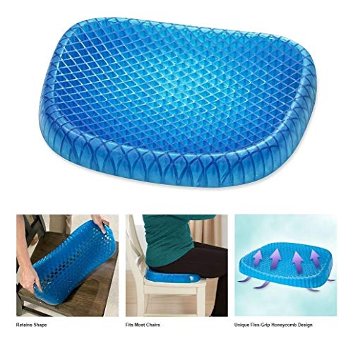 iMustbuy pain relief cushion cushioning breathable support seat absorbs the pressure point of the tailbone and back pain. Honeycomb design is suitable for everyone Blue with black cloth cover