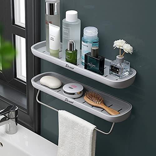 Skroad Estanterías para baño,Adhesivo estanteria Ducha con Barra de Toalla, Aluminio Espesamiento estanteria baño sin Taladro montado en la Pared Estante para baño para Cocina,2 Pack